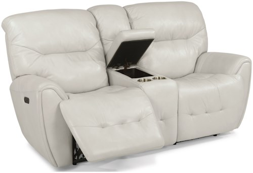 Flexsteel Latitudes-Blaise Contemporary Power Reclining Love Seat with Power Headrest and Storage Console