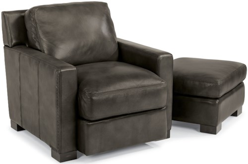 Flexsteel Latitudes-Blake Contemporary Chair and Ottoman with Removable Seat and Back Cushions