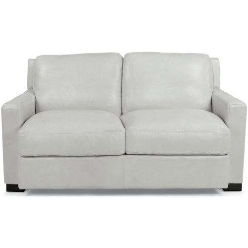 Flexsteel Latitudes-Blake Contemporary Love Seat with Loose-Pillow Back