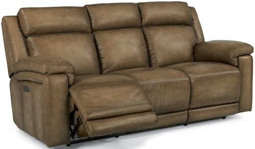 Flexsteel Latitudes-Brody Power Reclining Sofa with Adjustable Headrests and USB Ports