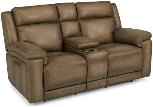 Flexsteel Latitudes-Brody Power Reclining Love Seat with Console and Power Headrest