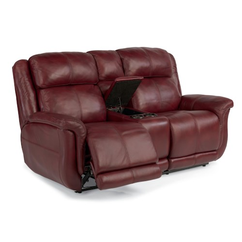 Flexsteel Latitudes-Brookings Casual Power Reclining Loveseat with Storage Console and Lighting Cupholders