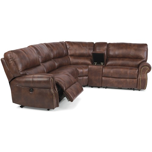 Flexsteel Latitudes-Carlton Traditional L-Shaped 5-Piece Sectional with Storage Console and USB Ports