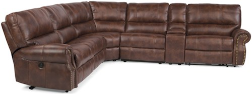 Flexsteel Latitudes-Carlton Traditional L-Shaped 6-Piece Sectional with Storage Console and USB Ports