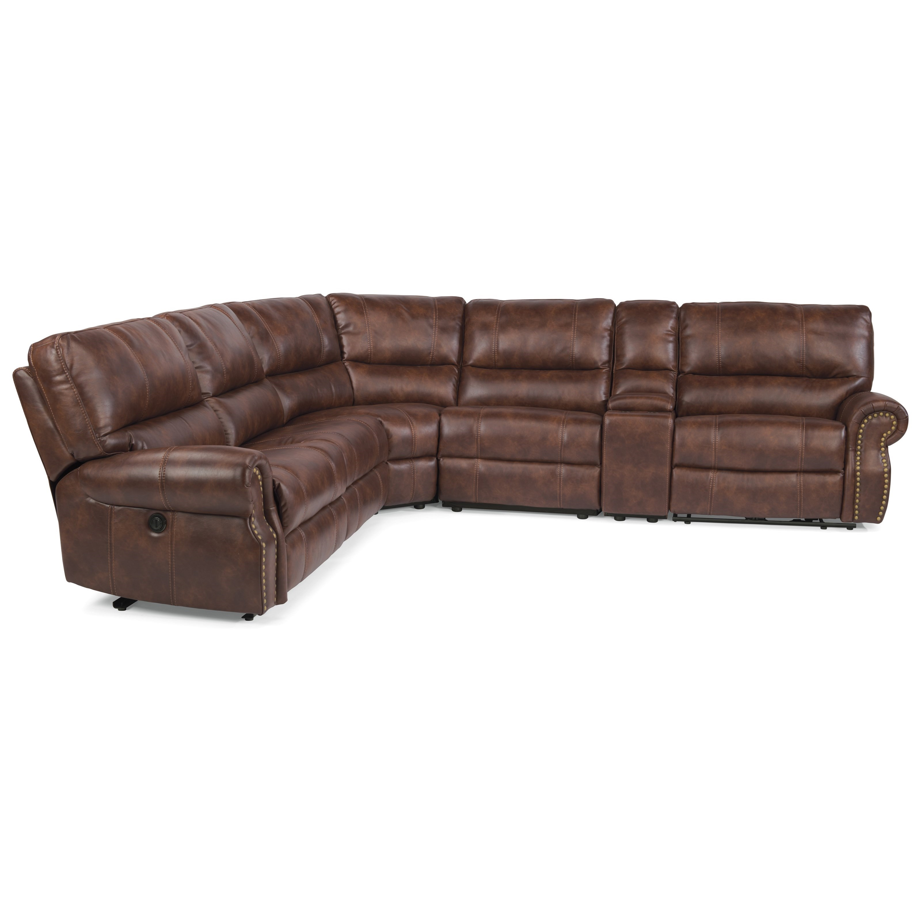 Flexsteel Latitudes Carlton Traditional L Shaped 6 Piece Sectional With  Storage Console And