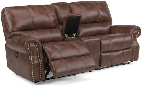 Flexsteel Latitudes-Carlton Traditional Power Reclining Loveseat with Console and USB Ports