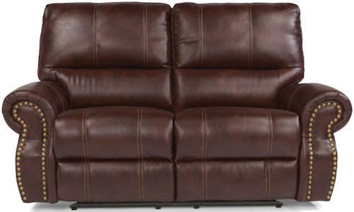 Flexsteel Latitudes-Carlton Traditional Power Reclining Loveseat with Nailhead Trim