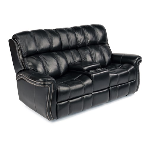 Flexsteel Latitudes - Challenger Power Lay-Flat Reclining Loveseat with Storage and Light-Up Cupholders