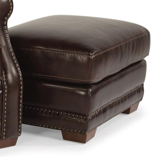 Flexsteel Latitudes-Chandler Transitional Ottoman with Nailhead Trim