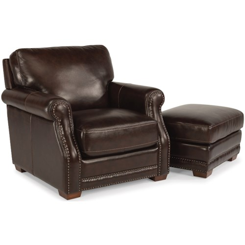 Flexsteel Latitudes-Chandler Transitional Chair and Ottoman Set with Nailhead Trim
