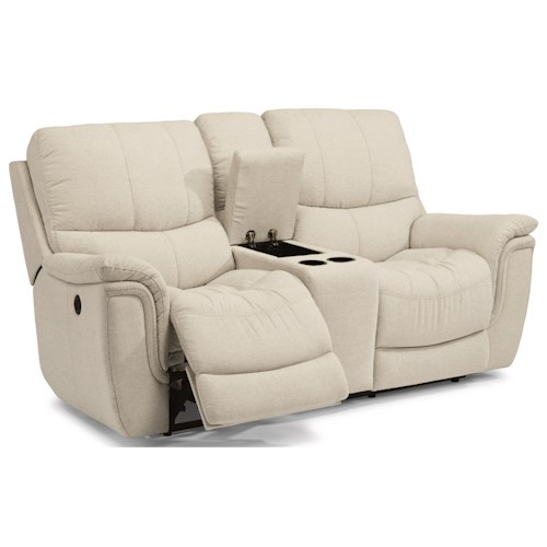 Flexsteel Latitudes-Coco Casual Power Reclining Loveseat with Console, Cup Holders and USB Ports