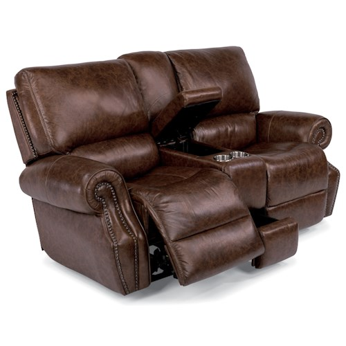 Flexsteel Latitudes-Colton Power Reclining Loveseat with Power Tilt Headrest and Cupholder Console