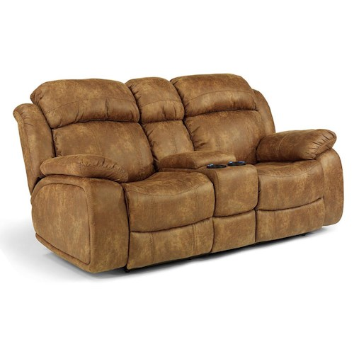 Flexsteel Latitudes-Como Power Gliding Rocking Recliner Loveseat with Drink Console