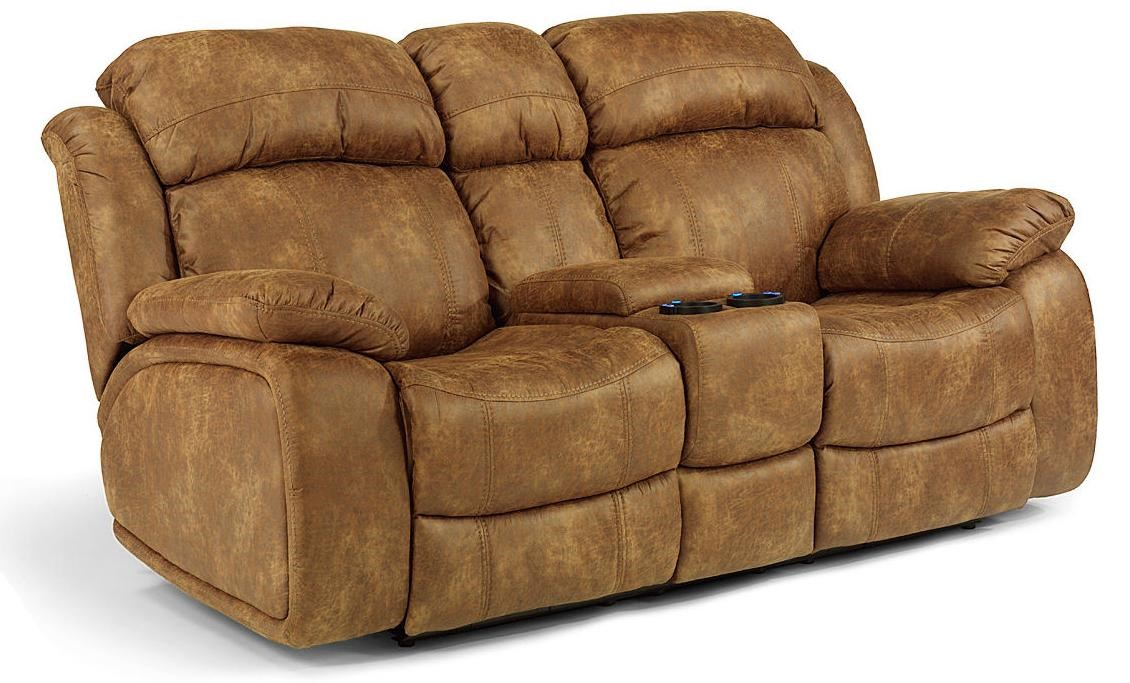 flexsteel power gliding rocking recliner loveseat with drink console