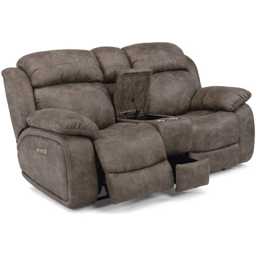 Flexsteel Latitudes-Como Power Reclining Console Love Seat with Power Headrests and USB Port