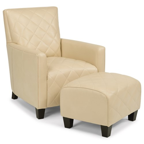 Flexsteel Latitudes-Cristina Contemporary Leather Chair and Ottoman Set