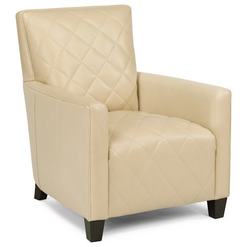 Flexsteel Latitudes-Cristina Contemporary Leather Chair with Geometric Stitching
