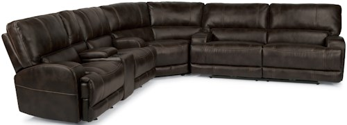 Flexsteel Latitudes-Cynthia Contemporary Sectional with Storage Console and USB Ports