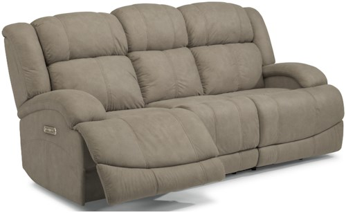Flexsteel Latitudes-Declan Casual Power Reclining Sofa with Power Headrests and USB Ports