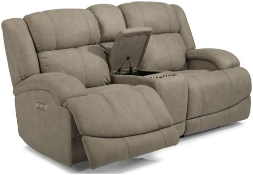 Flexsteel Latitudes-Declan Casual Power Reclining Loveseat with Console and Power Headrests