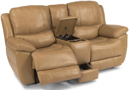 Flexsteel Latitudes-Estella Casual Power Reclining Loveseat with Storage Console and Padded Head and Neck Support