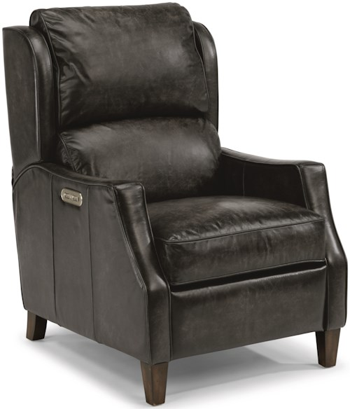 Flexsteel Latitudes-Ethan Transitional Power Leather High-Leg Recliner with Power Headrest and USB Port