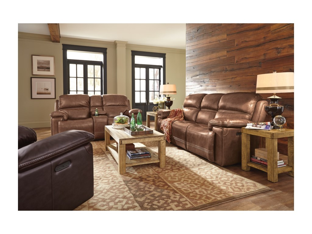 Flexsteel Latitudes-FenwickPower Leather Match Recliner Sofa
