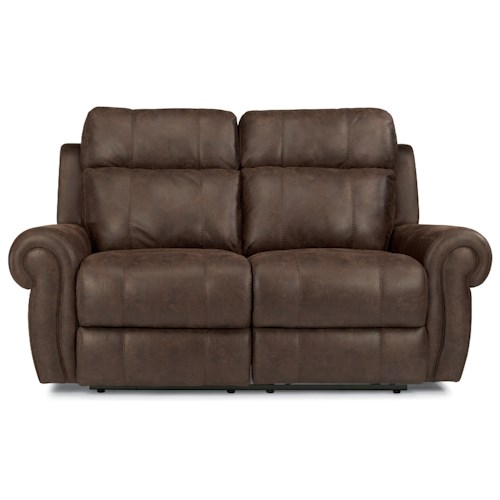Flexsteel Latitudes-Forrest Power Reclining Love Seat with USB Ports and Adjustable Headrest