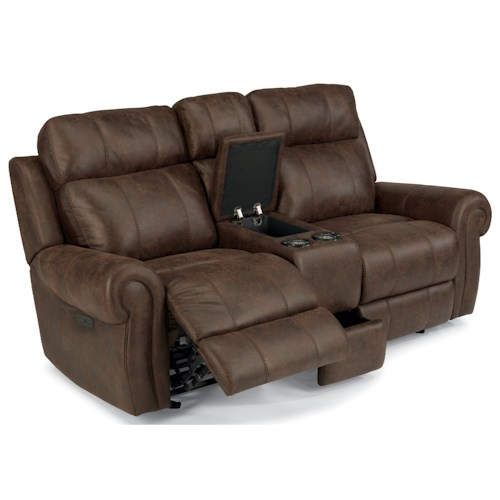 Flexsteel Latitudes-Forrest Power Reclining Glider Love Seat with USB Ports and Cup Holders