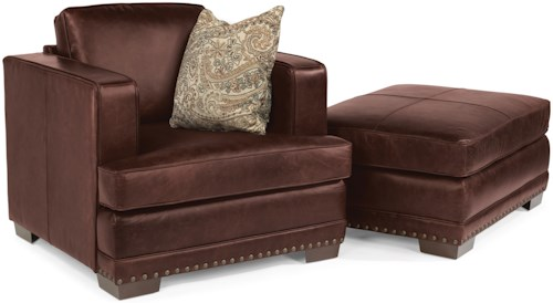 Flexsteel Latitudes-Fulbright Transitional Leather Chair and Ottoman Set