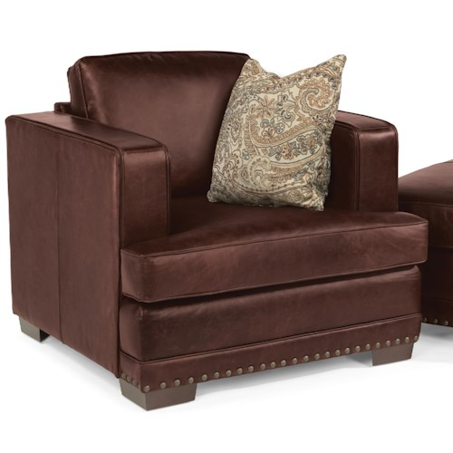 Flexsteel Latitudes-Fulbright Transitional Leather Chair with Nailhead Trim