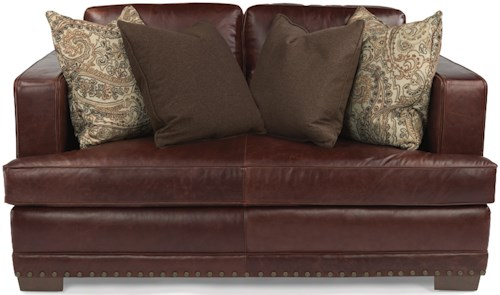 Flexsteel Latitudes-Fulbright Transitional Leather Love Seat with Nailheard Trim