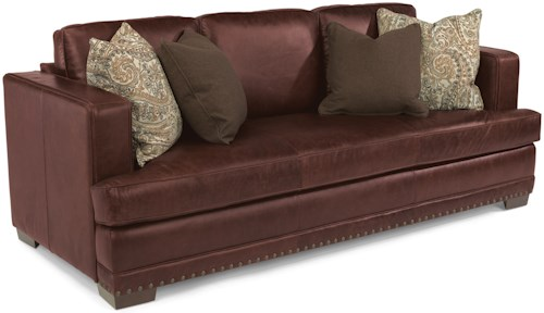 Flexsteel Latitudes-Fulbright Transitional Leather Sofa with Nailhead Trim