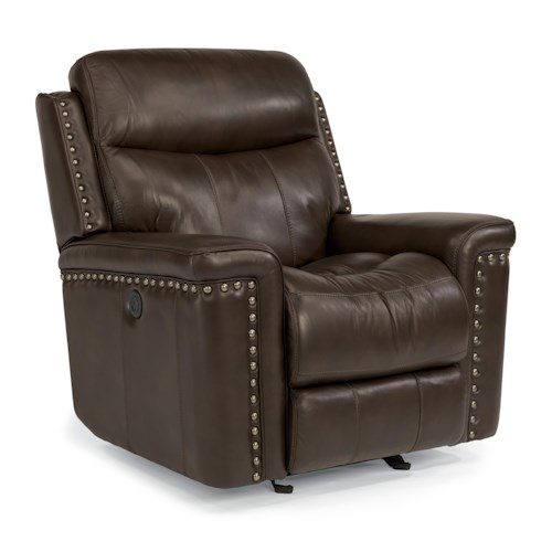 Flexsteel Latitudes-Grover Leather Match Power Glider Recliner with Nail Head Trim