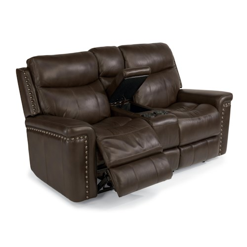 Flexsteel Latitudes-Grover Power Reclining Love Seat with Console and Nail Head Trim
