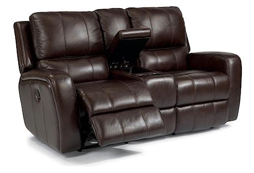 Flexsteel Latitudes-Hammond Power Reclining Love Seat with Console