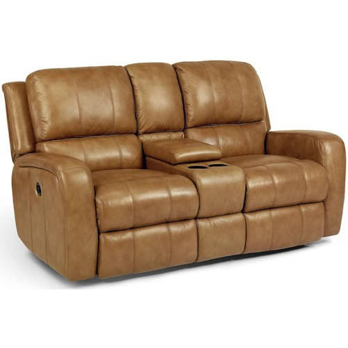 Flexsteel Latitudes-Hammond Power Reclining Love Seat with Console