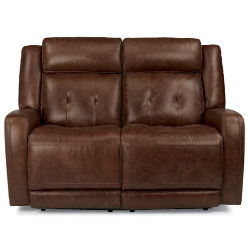 Flexsteel Latitudes-Jude Power Reclining Love Seat with Adjustable Headrest and USB Ports