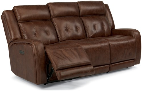 Flexsteel Latitudes-Jude Power Reclining Sofa with Adjustable  Headrest and USB Ports