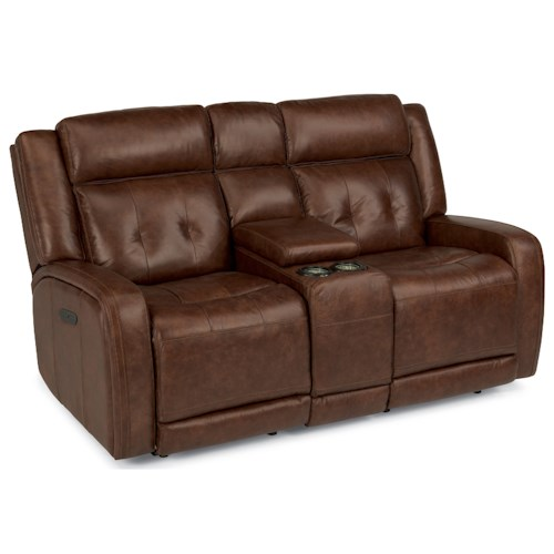 Flexsteel Latitudes-Jude Power Reclining Love Seat with Storage Console and Adjustable Headrest