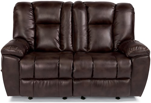 Flexsteel Latitudes-La Crosse Casual Gliding Reclining Love Seat with Pillow Arms