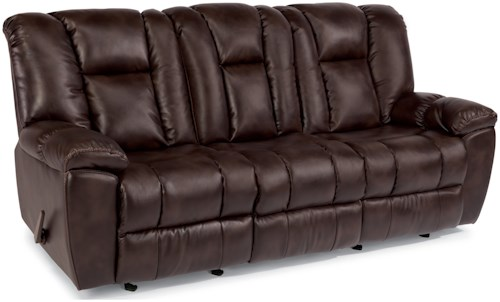 Flexsteel Latitudes-La Crosse Casual Gliding Reclining Sofa with a Drop Down Table and Charging Ports
