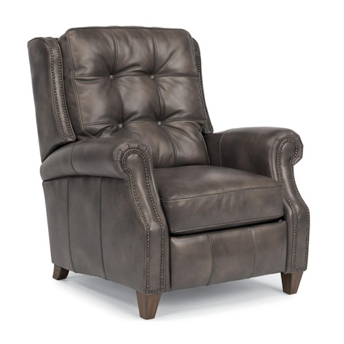 Flexsteel Latitudes-Landon Transitional Power High Leg Recliner with Rolled Arms and Button Tufted Back