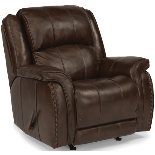 Flexsteel Latitudes-Lorenzo Casual Rocking Recliner with Pillow Arms and Oversized Rustic Nailheads
