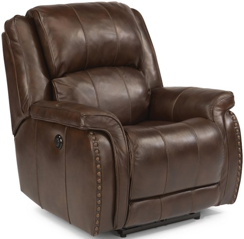Flexsteel Latitudes-Lorenzo Casual Power Recliner with Pillow Arms and Oversized Rustic Nailheads