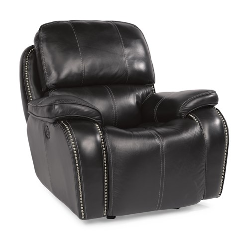 Flexsteel Latitudes-MacKay Power Gliding Recliner with Nailheads and USB Charging Port