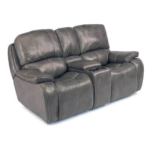 Flexsteel Latitudes-MacKay Power Reclining Loveseat with Storage and Light-Up Cupholder Console