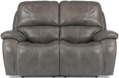 Flexsteel Latitudes-MacKay Power Reclining Loveseat with Nailheads and USB Charging Ports