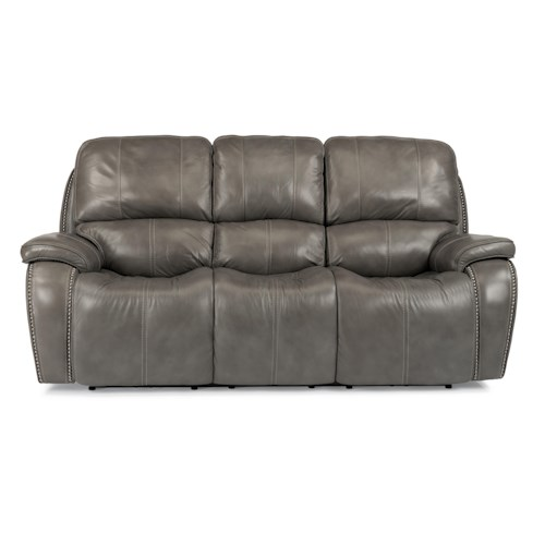 Flexsteel LatitudesMacKay Power Reclining Sofa With Nailheads And - Flexsteel sofa leather