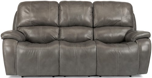 Flexsteel Latitudes-MacKay Power Reclining Sofa with Nailheads and USB Charging Ports